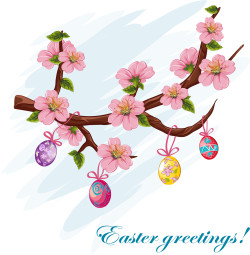 Cherry Blossoms with Easter Greetings